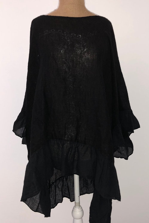 Oversized linen with ruffle hem Black