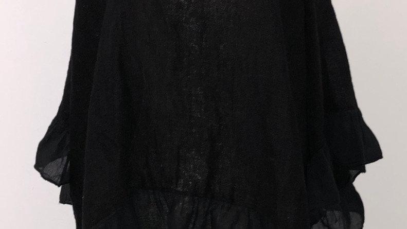 Oversized linen with ruffle hem Black