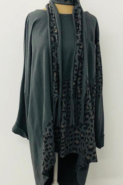 Slate leopard tunic sweater