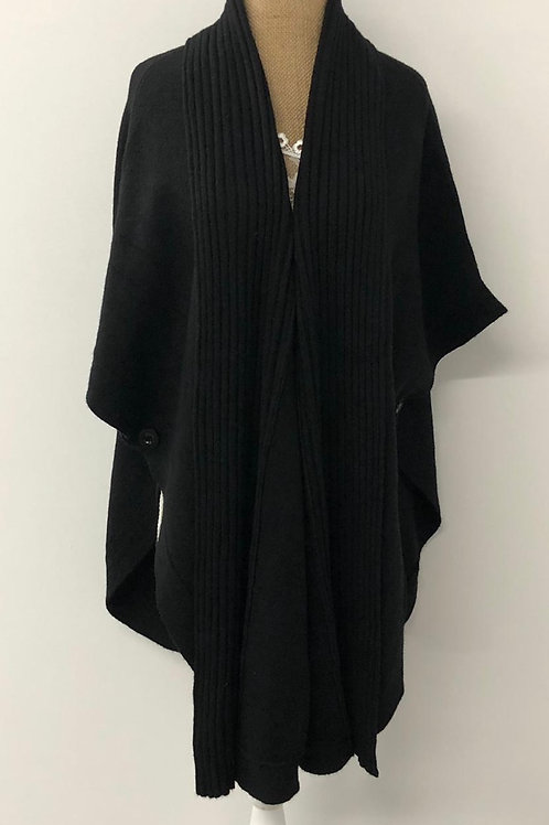 Black open poncho
