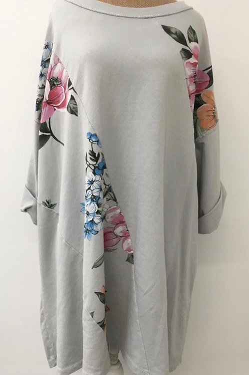 Panel floral tunic dove grey