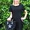 Thumbnail: Black sparkle pocket linen dress