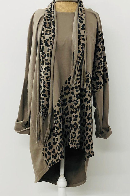 Mocha leopard tunic sweater
