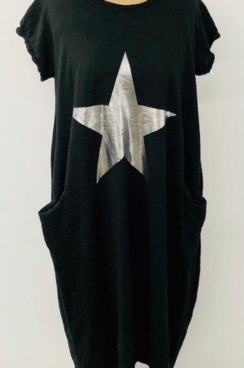 Star T-shirt dress in black