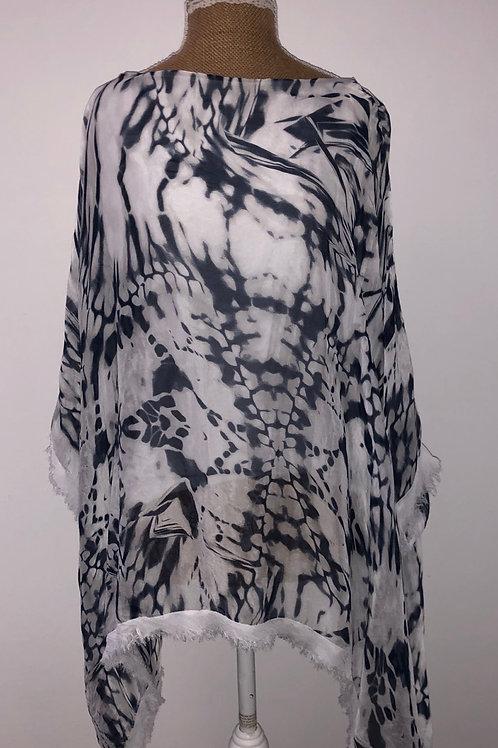 Silk tie dye blue & white