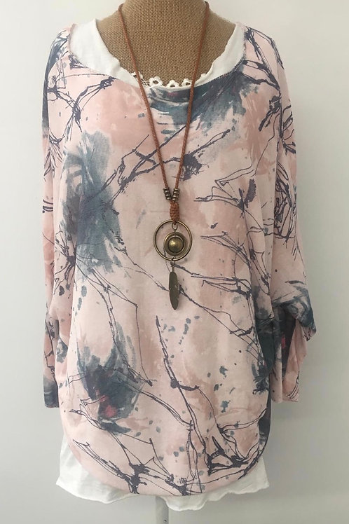 Abstract double layered blouse pink & blue
