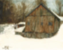 Oil Painting Vermont Barn in Winter