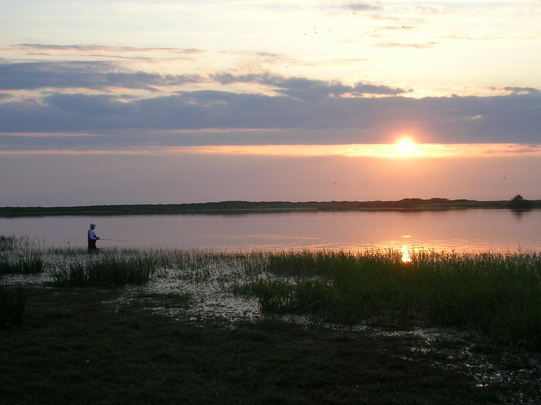 Soleil couchant sur un étang côtier