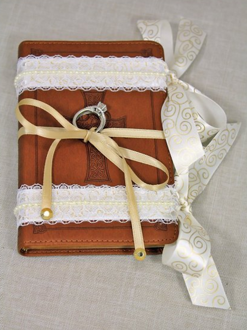 Brown Ring Bearer Bible, Ivory Lace & Gold Accents