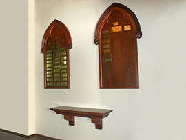 Hand Carved memorial boards and wall mounted table