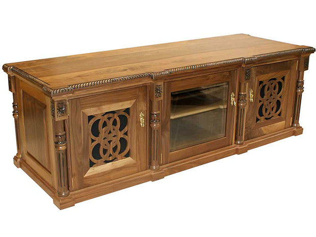 Audio Visual Cabinet with hand carved/hand turnings and fret work
