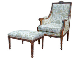 Louis XVI Arm Chair and Foot Stool