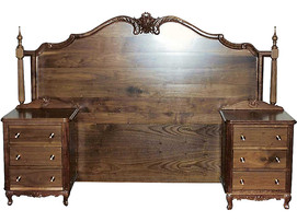 Hand Carved Headboard and Bedside Tables