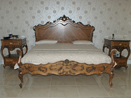 French Provincial Headboard, Footboard and Bedside Tables