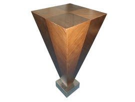 Plinth with veneer and stainless steel base
