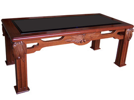 Coffee Table – Hand/carved with Beveled glass top