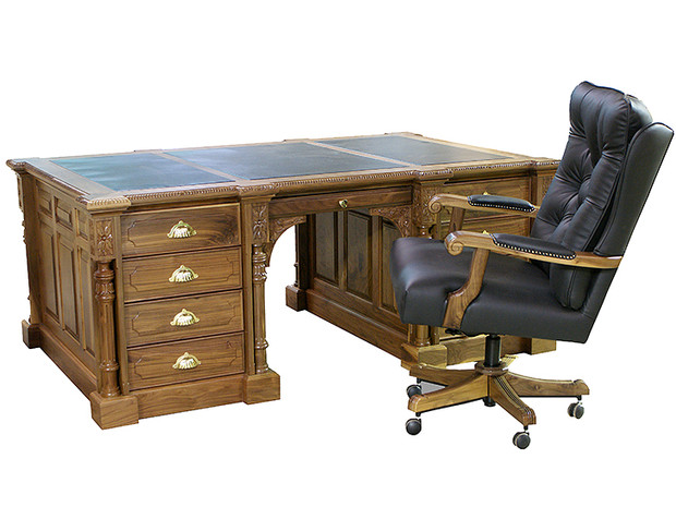 Partners Desk with Leather Top