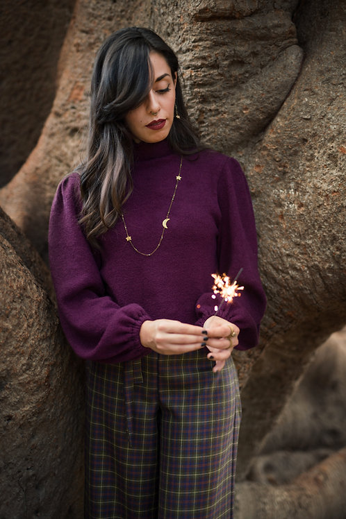 Dorothea - Purple Puffed Crop Sweater
