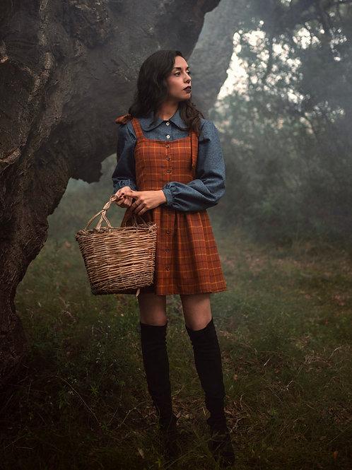 Sally - Tartan Mini Pinafore Dress