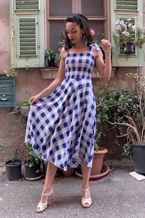 Valentina - Blue Vichy Midi Dress