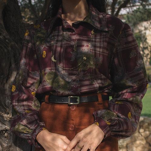 Antonia - Burgundy Rose Tartan Shirt