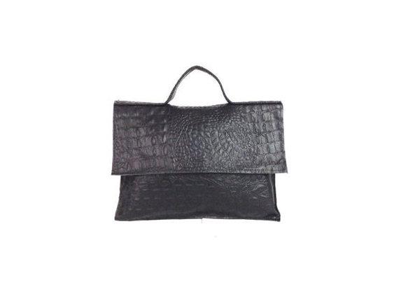 Leather Crocodile Print Briefcase