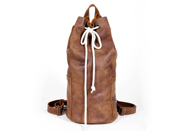 Large Brown Leather Bucket Bag