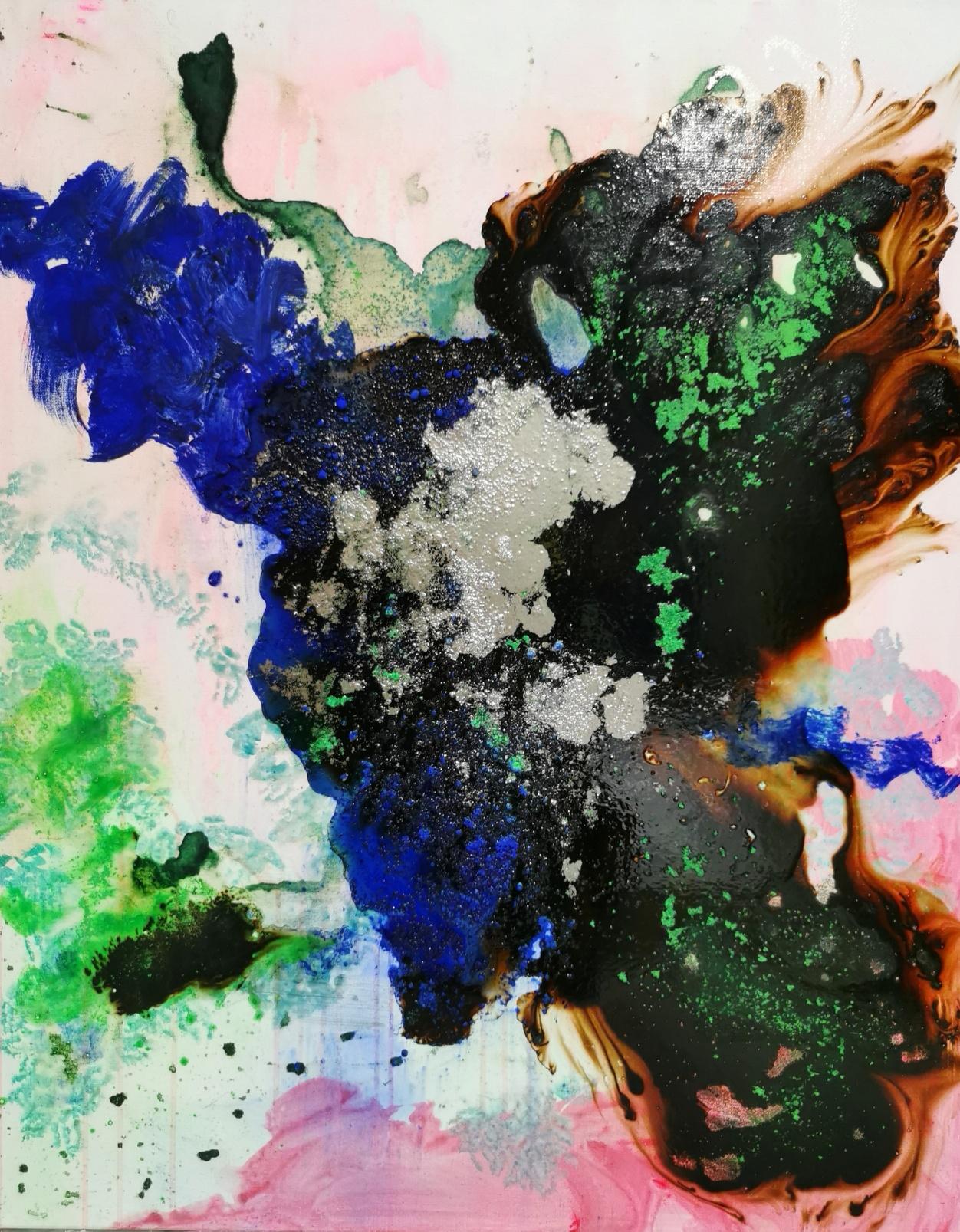 Fusion moka bleu et rose.92 x 73 cm