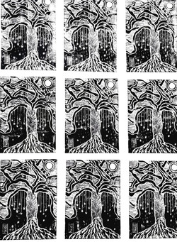 Linogravure arbre noir et blanc