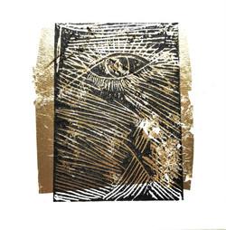 L'oeil du monde.Linogravure sur toile.