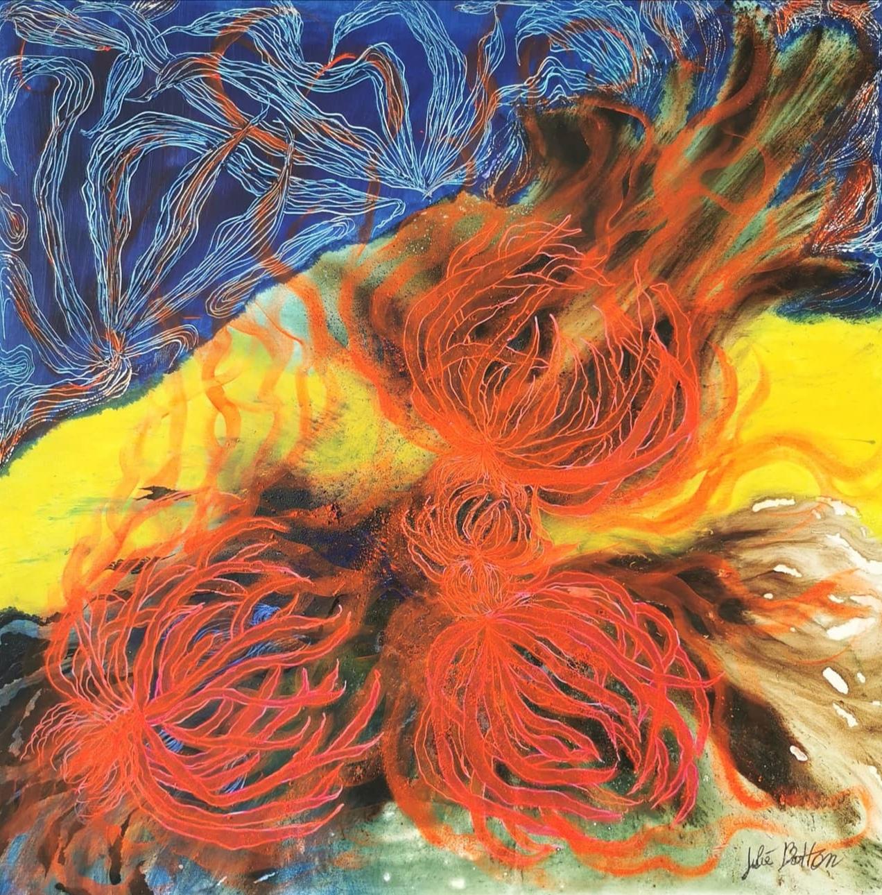 Nature en bleue et orange. 100 x 100 cm.
