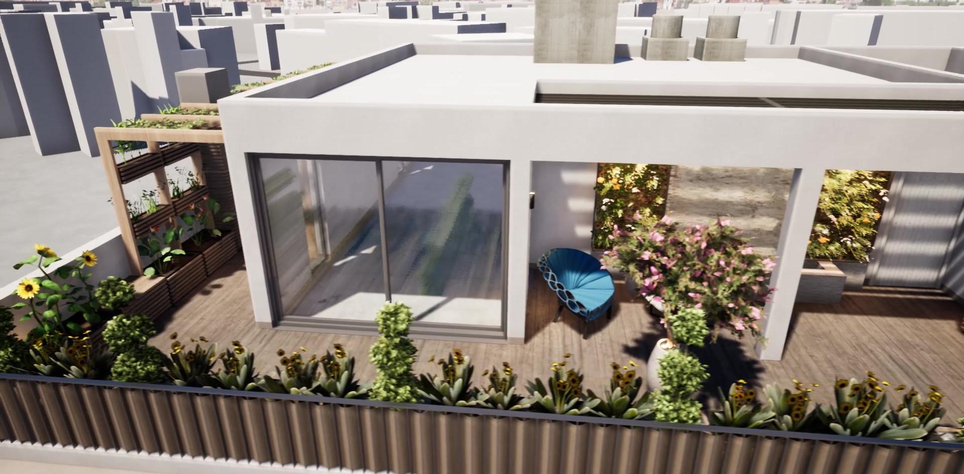 Terrasse-jardin sur le toit
