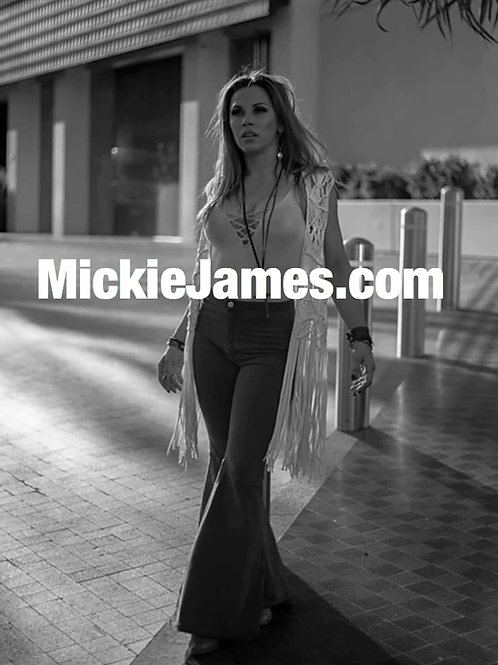 Autographed Black and White Mickie James photo - 8 x 10