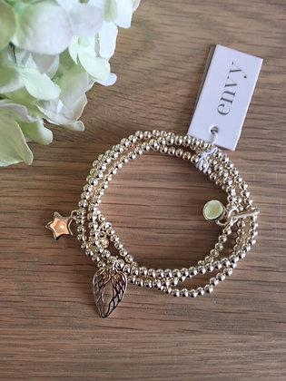 Envy Triple Strand Angel Wings Bracelet.  Gold.