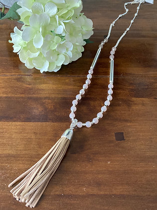 Envy Silver And Beige Tassel Necklace