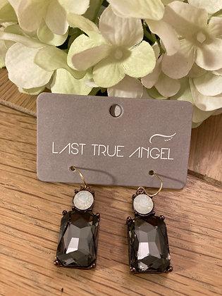 Last True Angel Deco Earrings Charcoal with Opal
