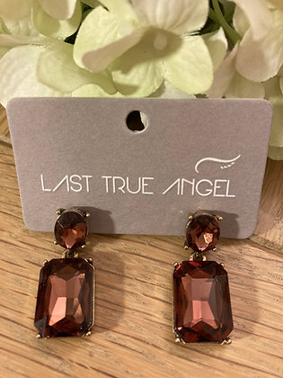 Last True Angel Deco Post Earrings Cognac