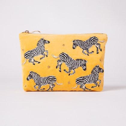 Elizabeth Scarlett  Zebra Mustard Velvet Make Up Bag