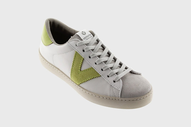 Victoria Contrast Stripe Leather Trainers Lime