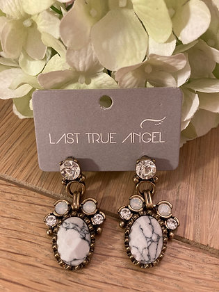 Last True Angel Statement Earrings with Onyx and Opal Stones