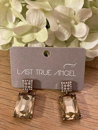 Last True Angel Deco Post Earrings Antique Gold and Diamante