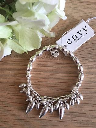 Envy Teardrop Charm Bracelet.  Silver.