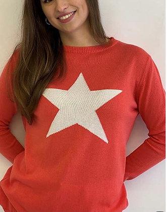 Luella Cotton Star Sweater Coral/Ivory