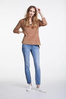 Oui Soft Feel V Neck Sweater Tan