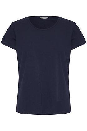 Fransa Basic Organic Cotton T-shirt Navy