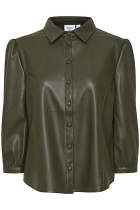 Saint Tropez Bati Shirt Olive Green Faux Leather