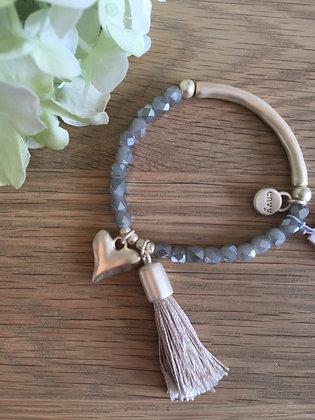 Envy Heart and Tassel Bracelet.  Gold.