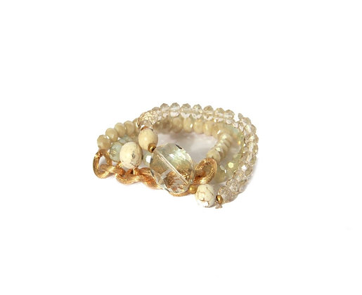Envy White and Gold bracelet with Faceted glass Beads.