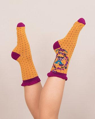 Powder Bamboo Initial Socks. X.