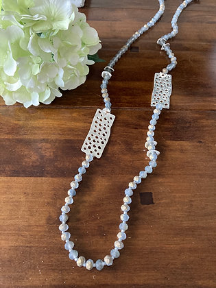Envy Grey Bead necklace with Silver Detail